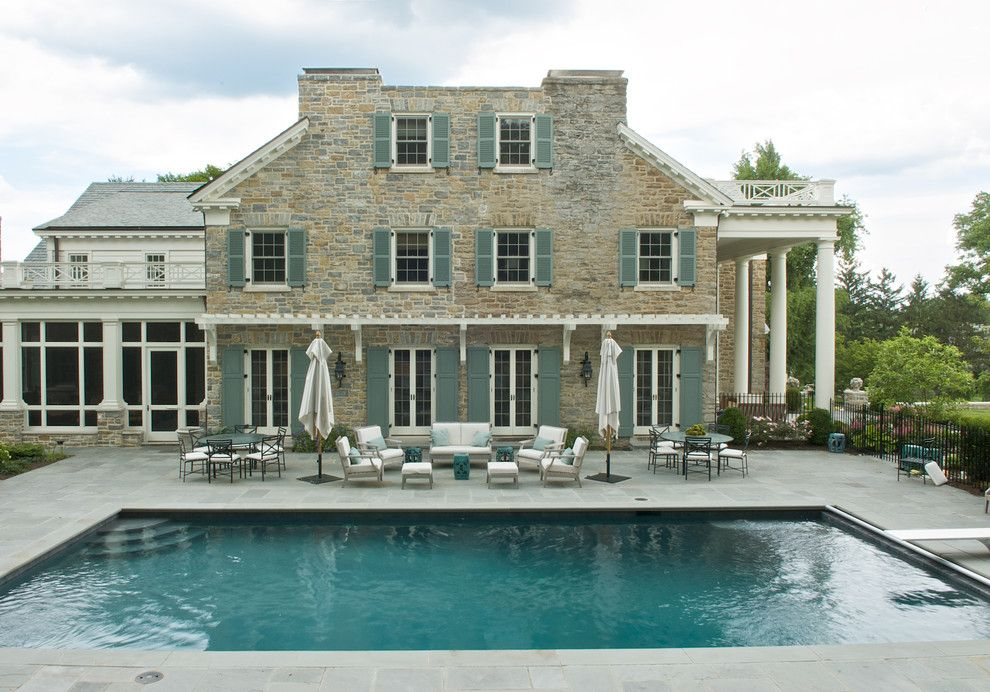 Cincinnati Bathroom Remodeling Exterior limestone, white trim, turquoise shutters. amazing combination