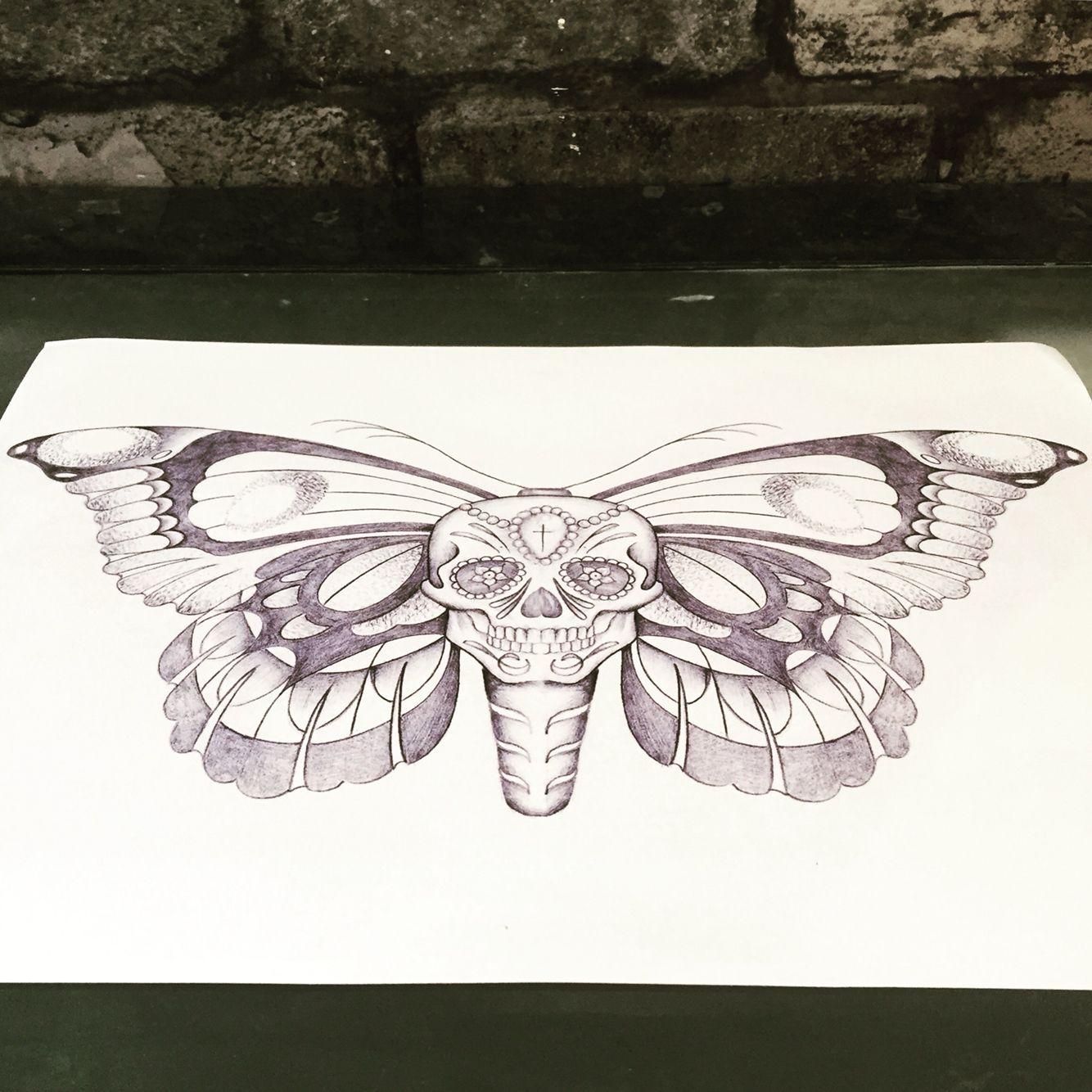73cc993c9 Skull butterfly drawing. Tattoo design. | skulls | Skull butterfly ...