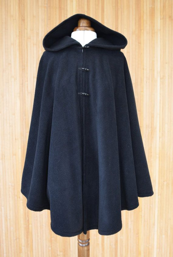 e7b7d3f0120ec4 Womens' Black Handmade Cape, Black Hooded Cloak, Plus Size Cape Coat ...