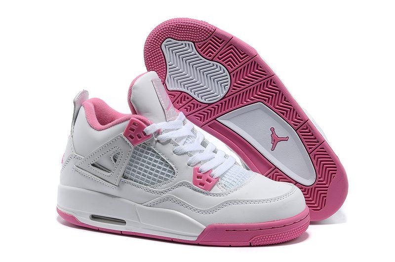 Air jordan 4 white pink women shoes