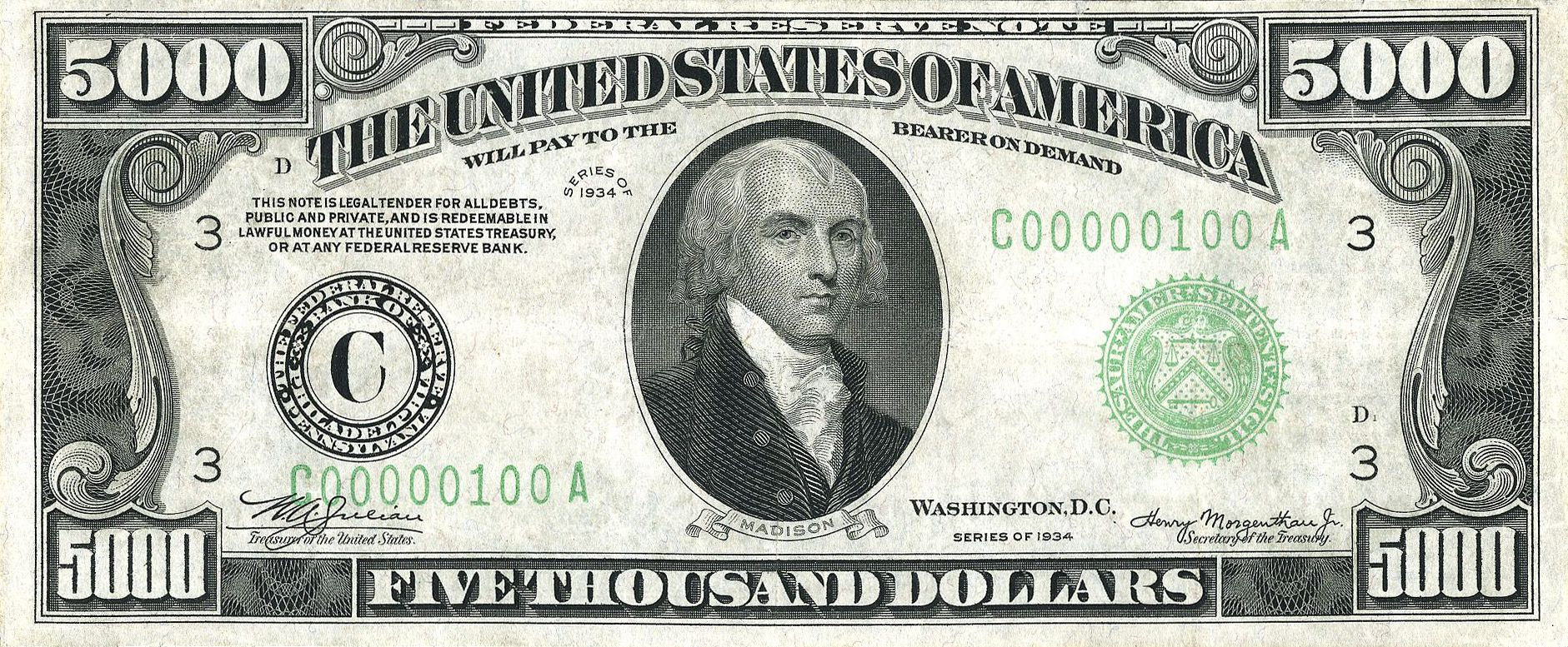 5000 In Savings Thousand Dollar Bill 5000 Dollar Bill Money Notes