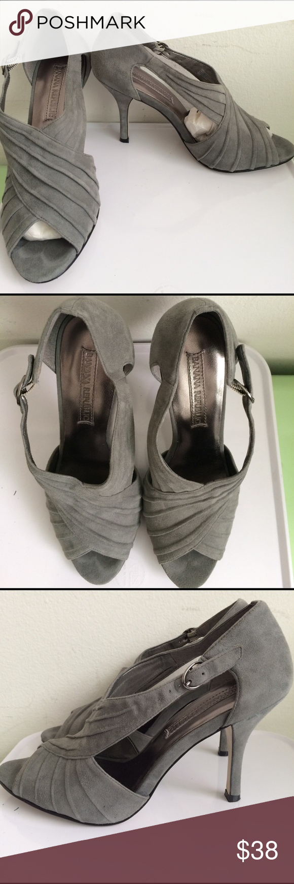 "Banana Republic Gray Suede sexy heels Size 6 Banana Republic Gray Suede sexy heels. Peep toe. Adjustable ankle strap. Cushioned toe. 3.5"" suede heel. Super clean. Litter wear as you can see. EUC Size 6 Banana Republic Shoes Heels"