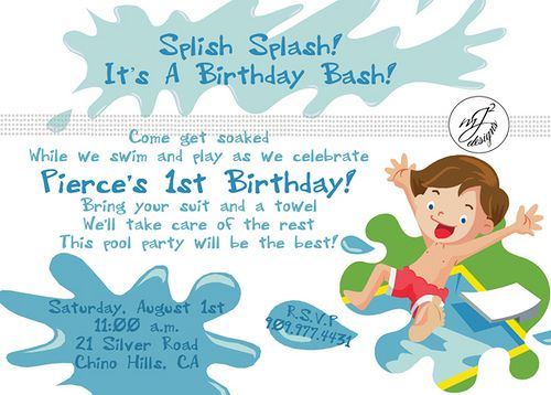Splish! Splash! Itu0027s a Birthday Bash! Party Ideas Pinterest - first birthday invitation templates free