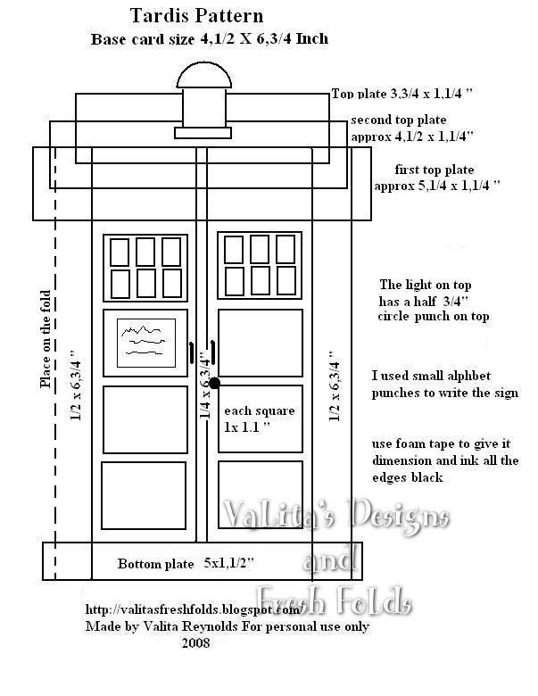 Printable TARDIS tardiscardpatternjpg Projects to Try
