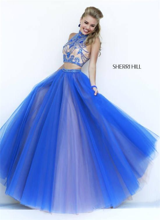 Beaded Halter Royal Two Piece Sherri Hill 11211 Ball Gowns ...
