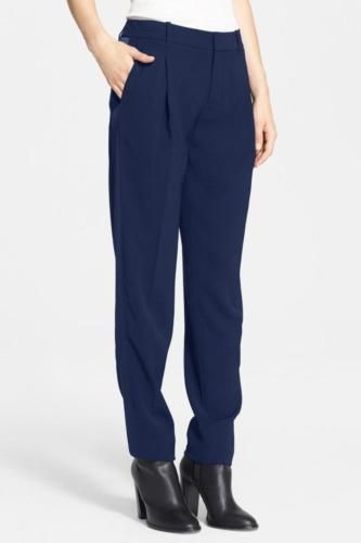 Vince Satin Strapping Trouser SZ 4 Marine Blue NEW $ 325