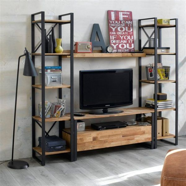 Luma librero estilo industrial columna de acero negro y for Mueble tv industrial