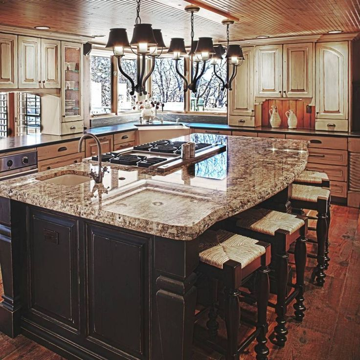 Island Cooktop Kitchen Google Search Rustik Mutfak Mutfak