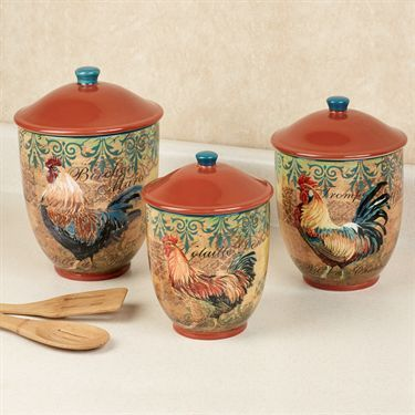 Rustic Rooster Kitchen Canister Set. Touch Of Class