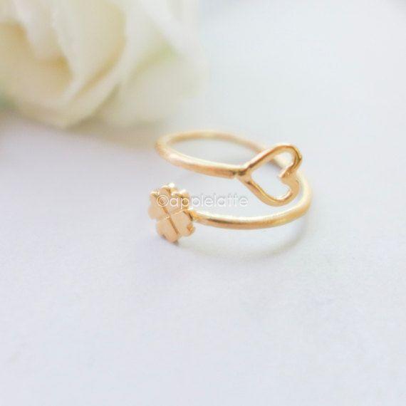 clover heart Ring clover ring sideways heart ring by applelatte