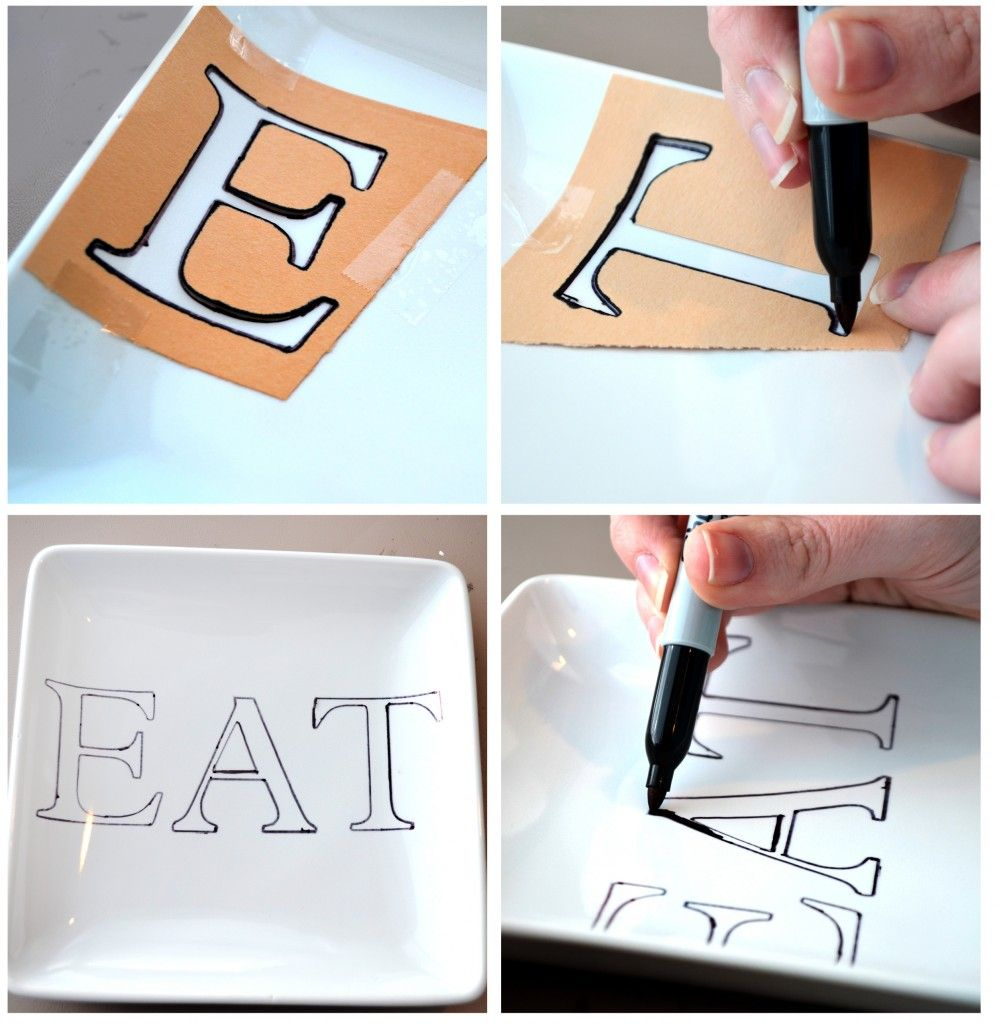 DIY Sharpie Plates - Buy plates from Dollar Store Use a Sharpie and decorate...Bake at 350 for 30 min. Becomes permanent and safe - could do with quotes, monogram, or special days of the year.
