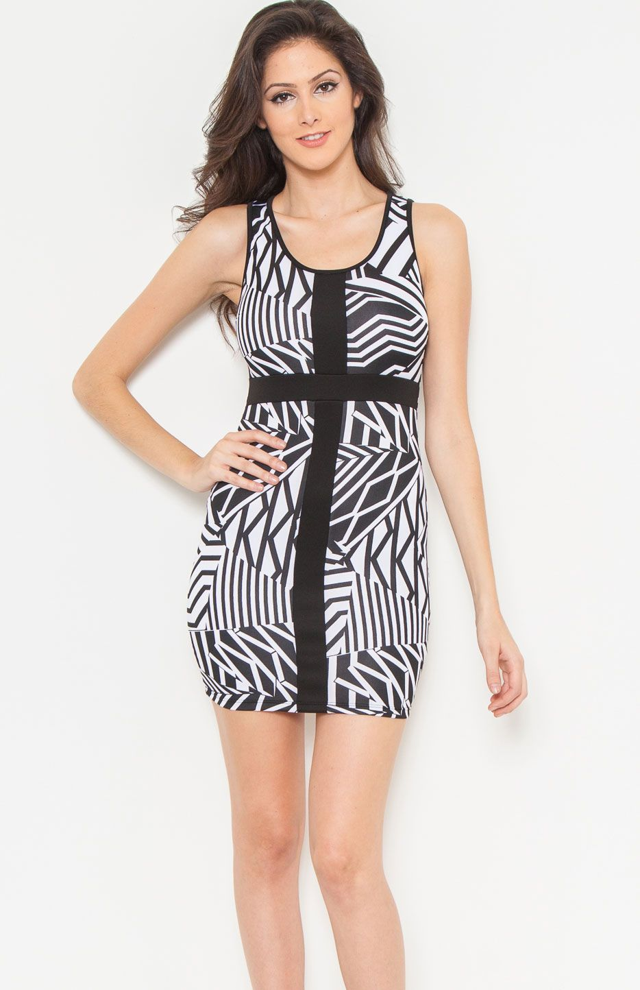 Round neck sleeveless multi way striped bodycon dress featuring racerback and solid cross front. Simple black and white party dress to go clubbing.Price Per Piece $11.95