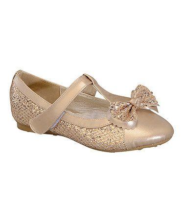 $6.79 Gold Sparkle Mary Jane Flat #zulily #zulilyfinds