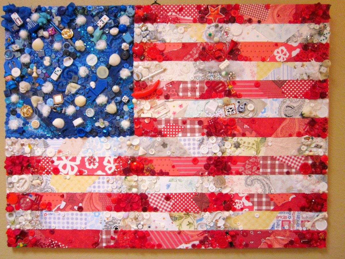 Creative diy patriotic decoration american flag collage for American decoration ideas