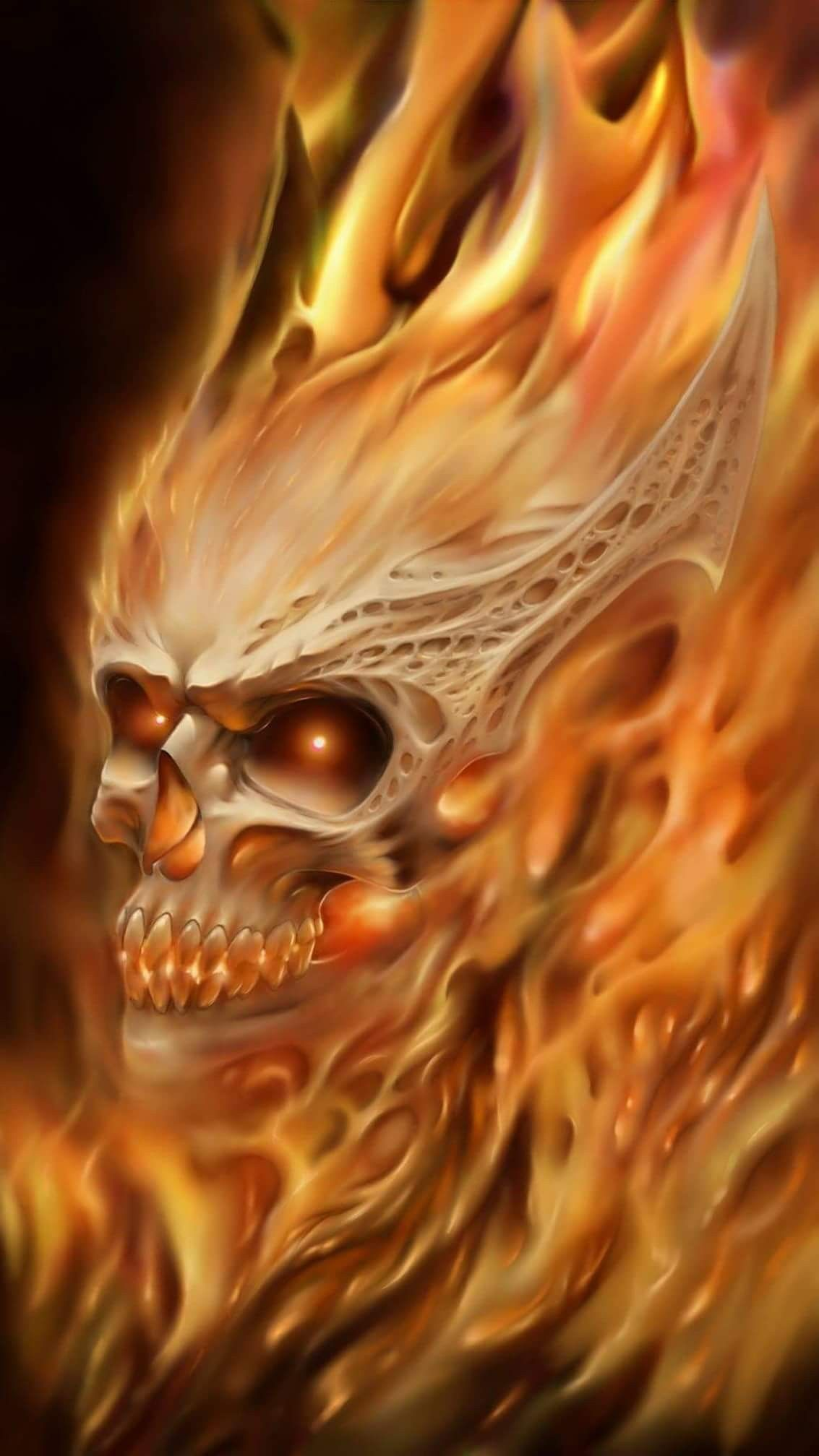 Beautiful Flaming Skull Skulls In 2019 Art