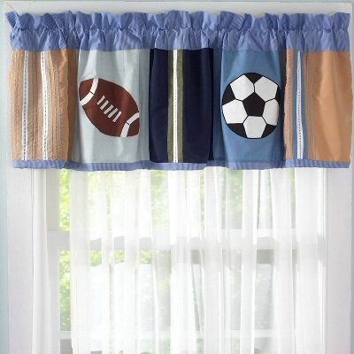 Kids Sports Time Window Valance Blue Soccer Football Window