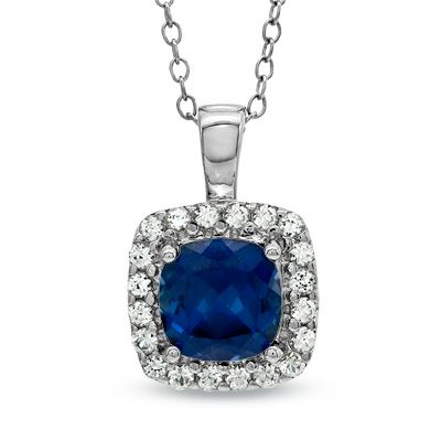 Zales Cushion-Cut Lab-Created Blue Sapphire and Diamond Accent Beaded Frame Pendant in Sterling Silver 6rNM3yGIE