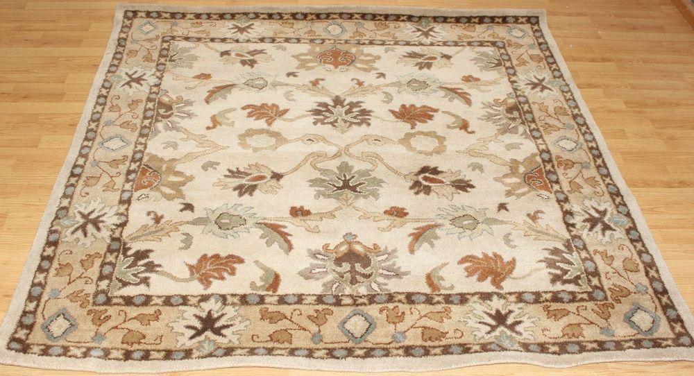 NEW Area Rug Surya CAESAR 6' Square Ivory Wool Classic