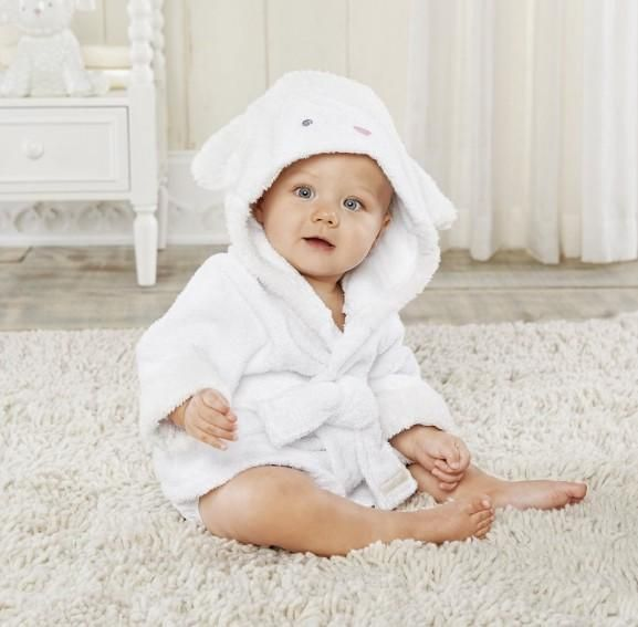 Personalised Baby Dressing Gown Bath Robe fluffy Cuddle gown grey white 0 to 2yr