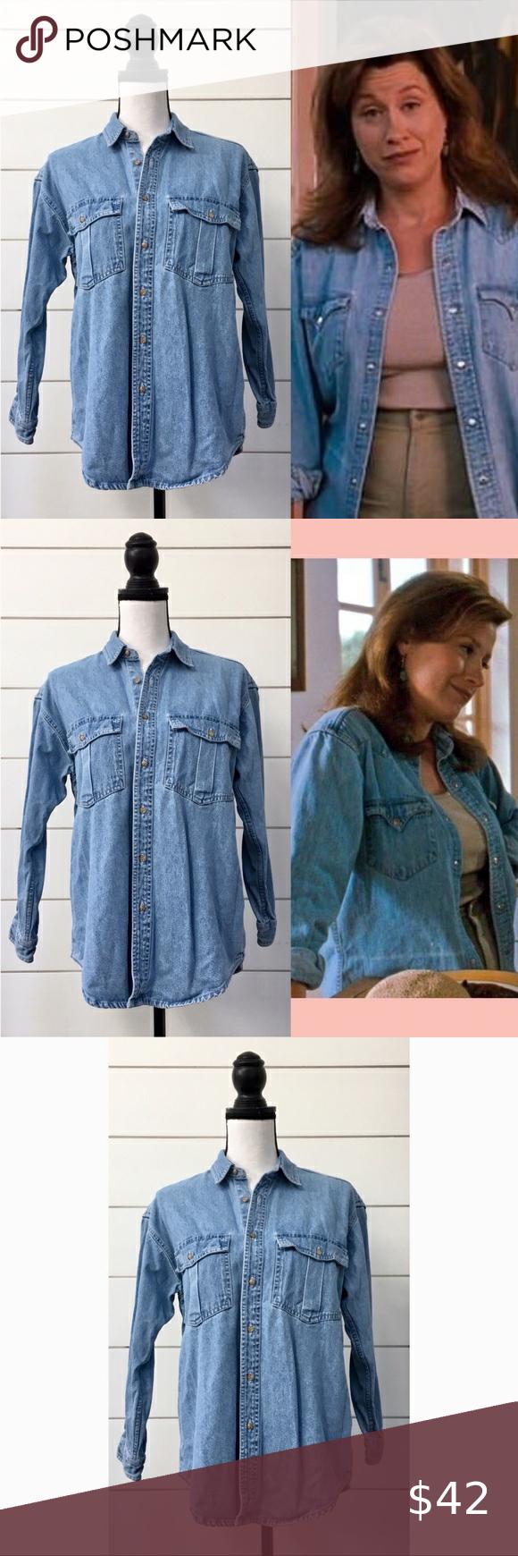 vintage denim dark wash jean 90s ruffle long sleeve blouse button down- womens large