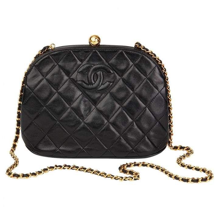 Chanel Vintage Black Leather Handbag Chanel Handbags Chanel Bag Burberry Bag