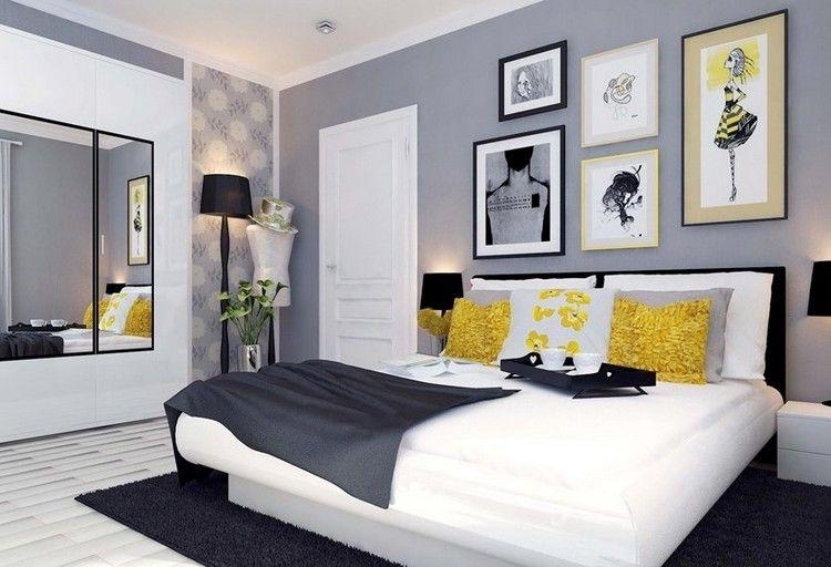 couleur de peinture pour chambre gris taupe dressing integre deco murale originale lit bas tapis shaggy noir et parquet massif