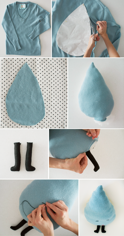 Via One More Mushroom      O blog está mesmo a precisar de um projecto DIY e aqui está ele. Um almofada em forma de gota de chuva feita co...