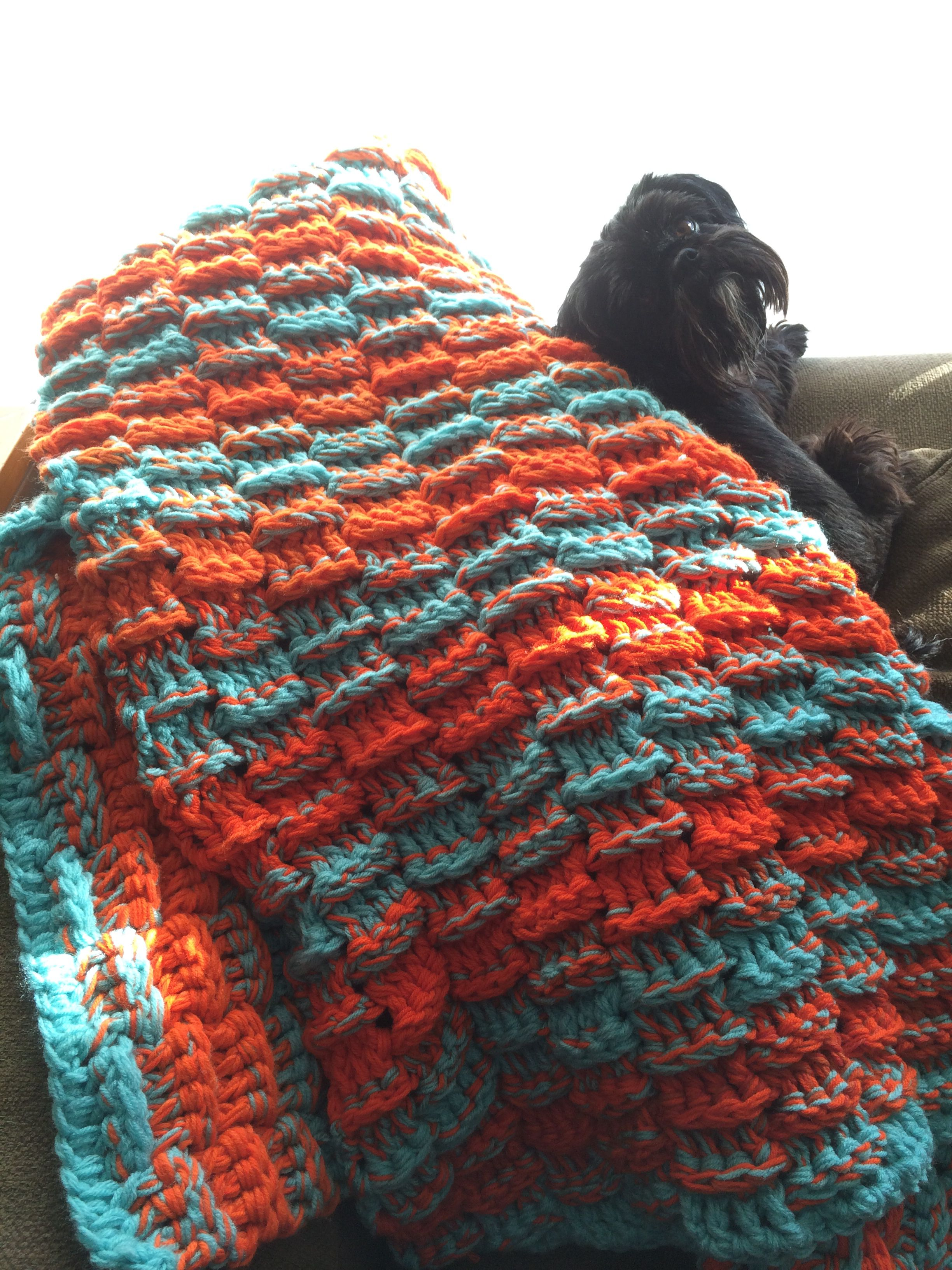 Three strand crochet basket weave orange & aqua Miami Dolphins throw ...