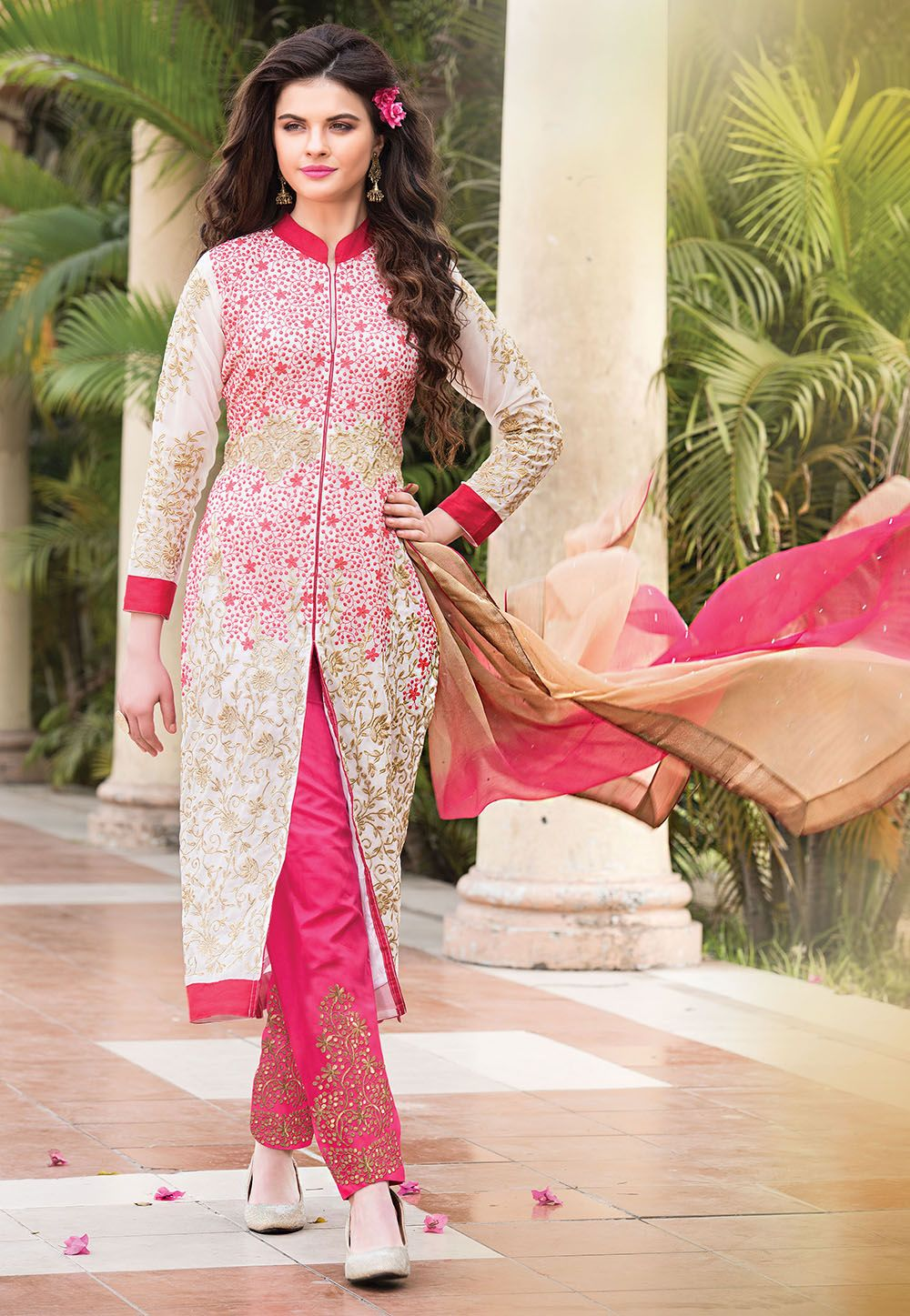 OffWhite Faux Georgette #Kameez with Straight Pant | Anarkali suits ...