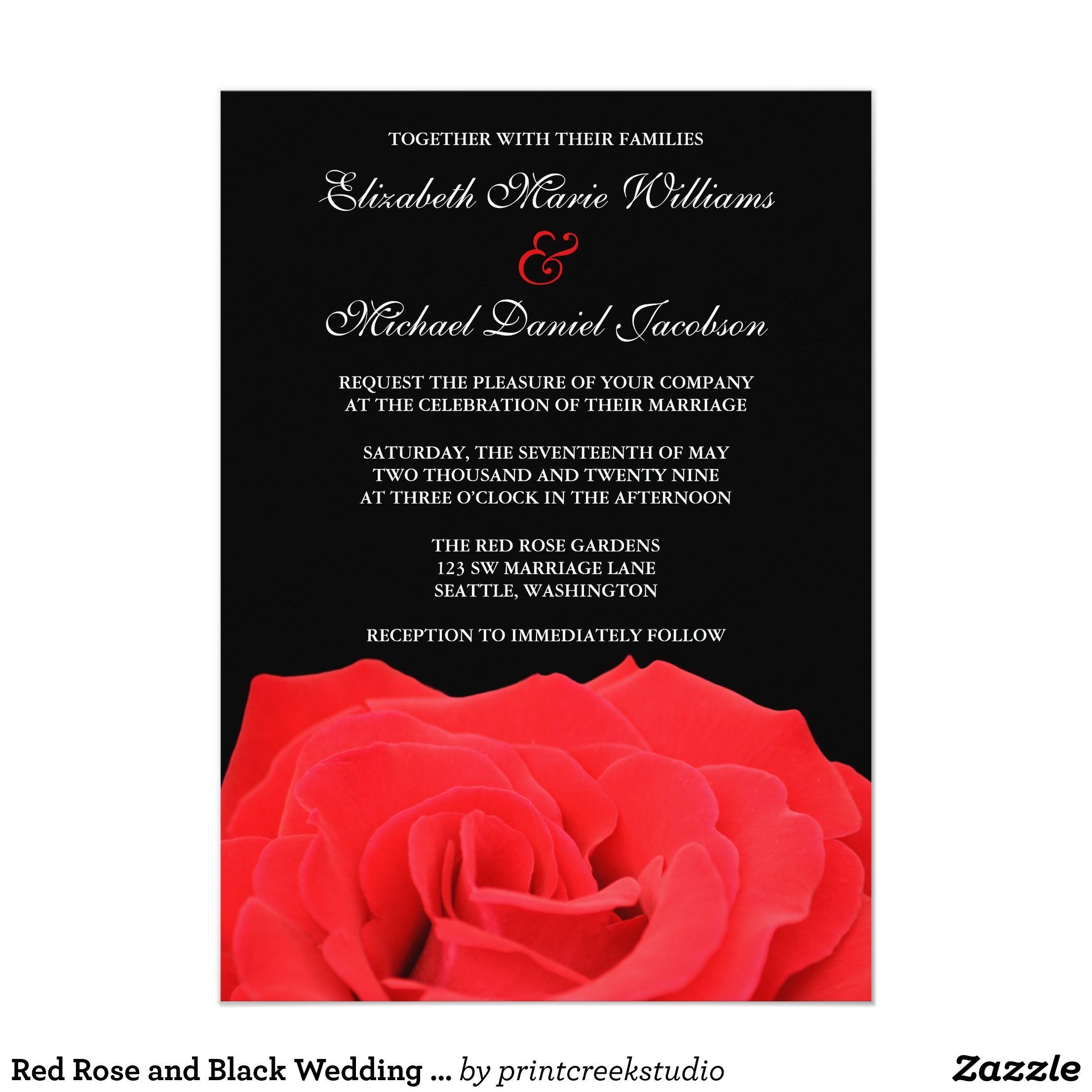 Red Rose and Black Wedding Invitations | Pinterest | Weddings and ...