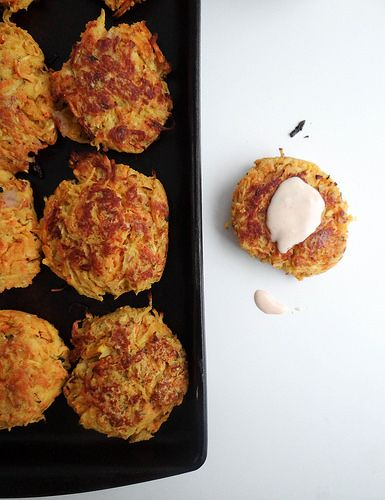 winter root veggie fritters with spicy vegan aioli