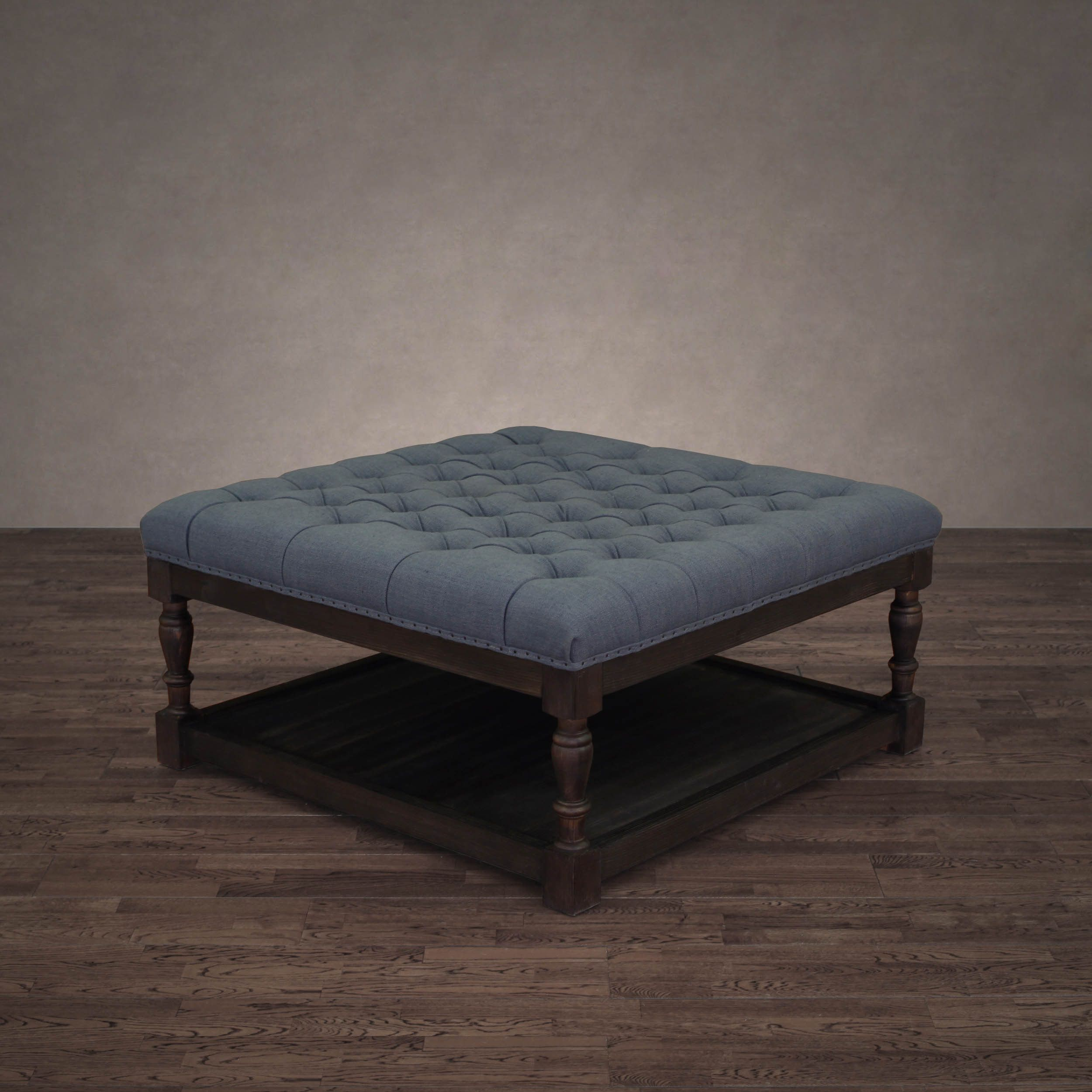 I Love Living Creston Navy Blue Linen Tufted Cocktail Ottoman, Size ...