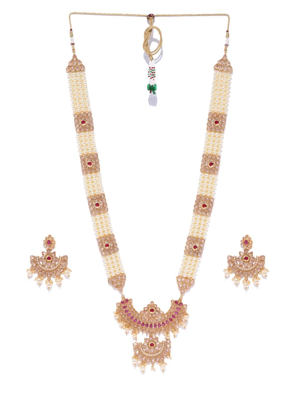 Zaveri Pearls Mesmerising Austrian Diamonds & Pearls Bridal Long ...