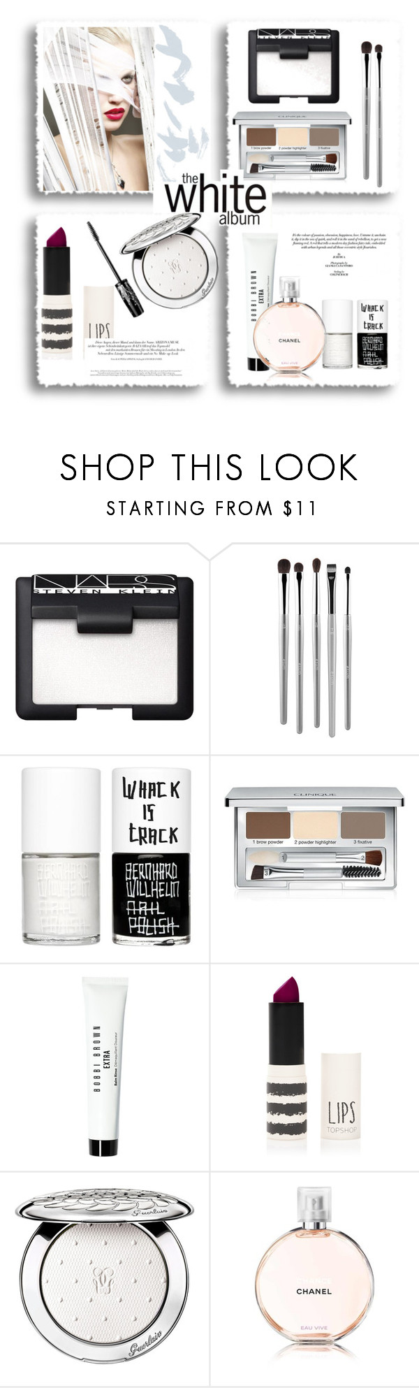 """""""The white album..."""" by gul07 ❤ liked on Polyvore featuring beauty, NARS Cosmetics, esum, Uslu Airlines, Clinique, Bobbi Brown Cosmetics, Topshop and Guerlain"""
