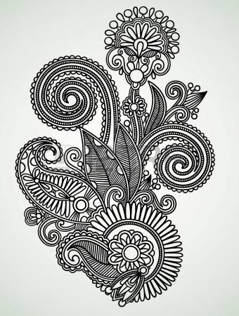 Hand Draw Line Art Ornate Flower Design Photo