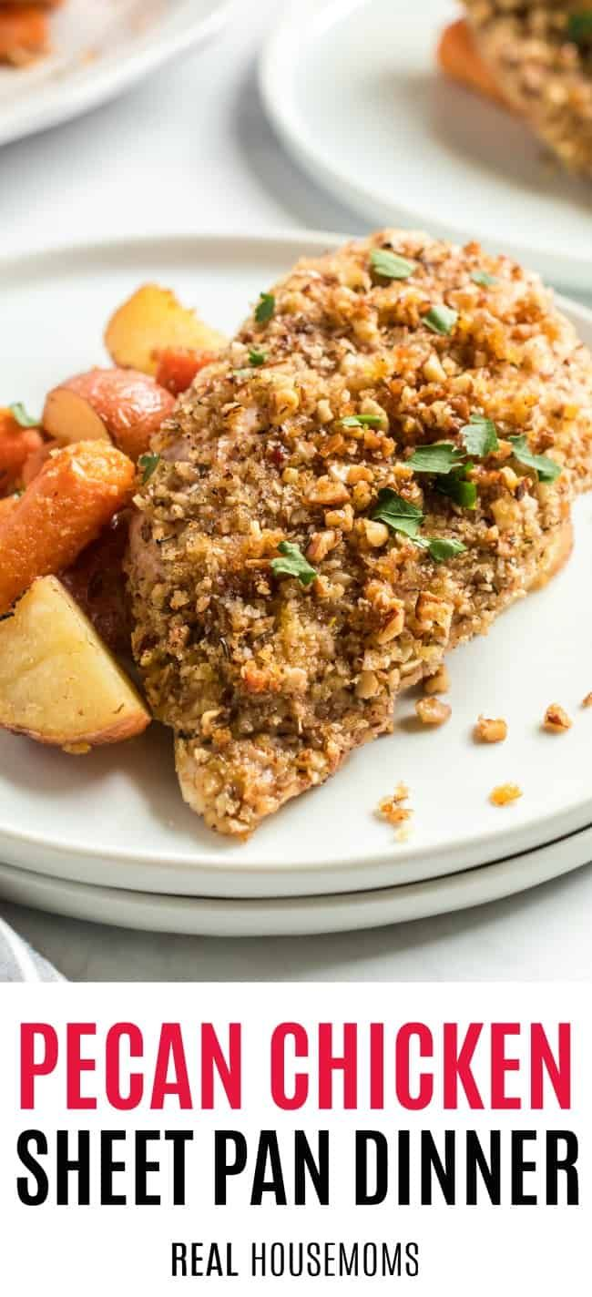 Your family is going to love this Pecan Crusted Chicken Sheet Pan Dinner! It's an easy one-pan meal that'll have everyone asking for seconds! #pecancrustedchicken #chickendinner #sheetpandinner #onepandinnerschicken