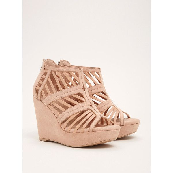 Torrid Wide Cage Cutout Platform Wedges - Wide Width ($55) ❤ liked on Polyvore featuring shoes, nude, sexy platform shoes, sexy nude shoes, wide wedge shoes, wide width wedge shoes and nude platform shoes