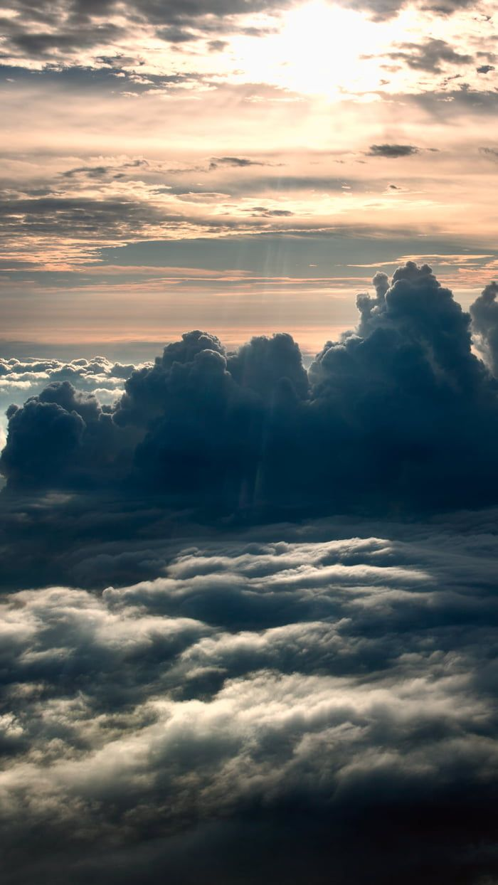 Above the clouds.