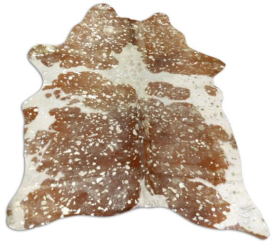 Gold Metallic Cowhide Rug Size: 7.7 X 7 Ft Matte On Brown U0026 White Cow Rug  J 287