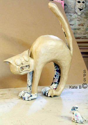 Statuettes En Papier Mache Le Matou Chat Effraye Par La Souris Papier Mache Chat Papier