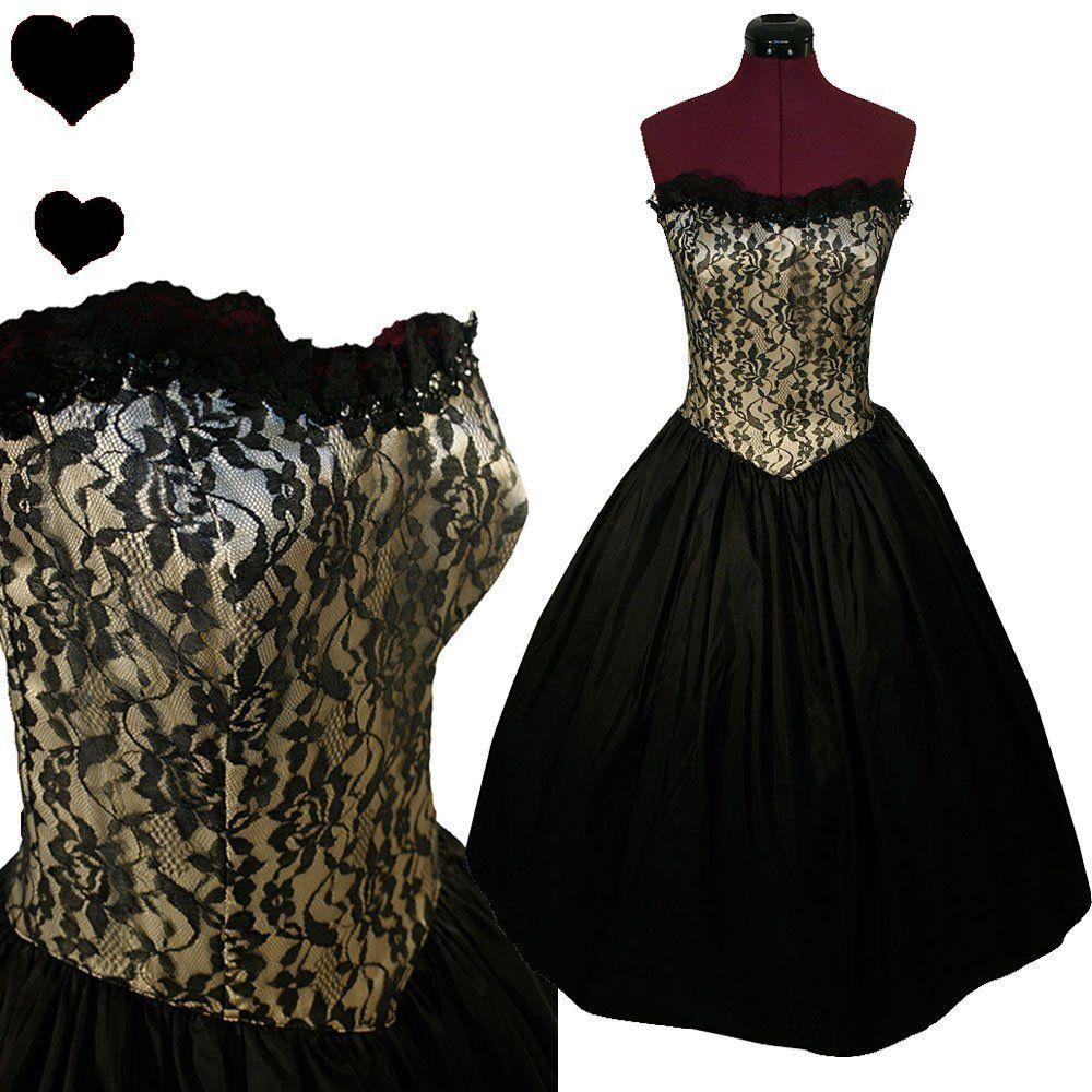 d8a9a73cb24 Vintage 80s Black Strapless GUNNE SAX Full Skirt Party PROM Dress M Lace  Taffeta