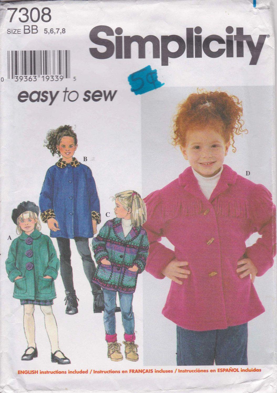 74a39e783 Easy Coat Pattern Winter Jacket Girl s Size 5 - 8 Uncut Simplicity ...
