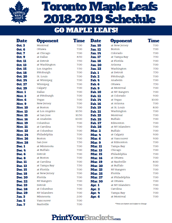 image regarding Tampa Bay Lightning Printable Schedule titled Printable 2018-2019 Toronto Maple Leafs Hockey Timetable