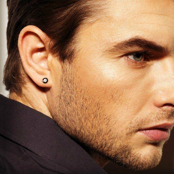 595262859db7f2 Real diamond stud earrings for men, mens diamond studs, black stud earrings  for guys, mens black stu