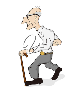 Iclipart Isolated An Old Man Walking On The White Background Old Men Funny Cartoon Old Man Walking