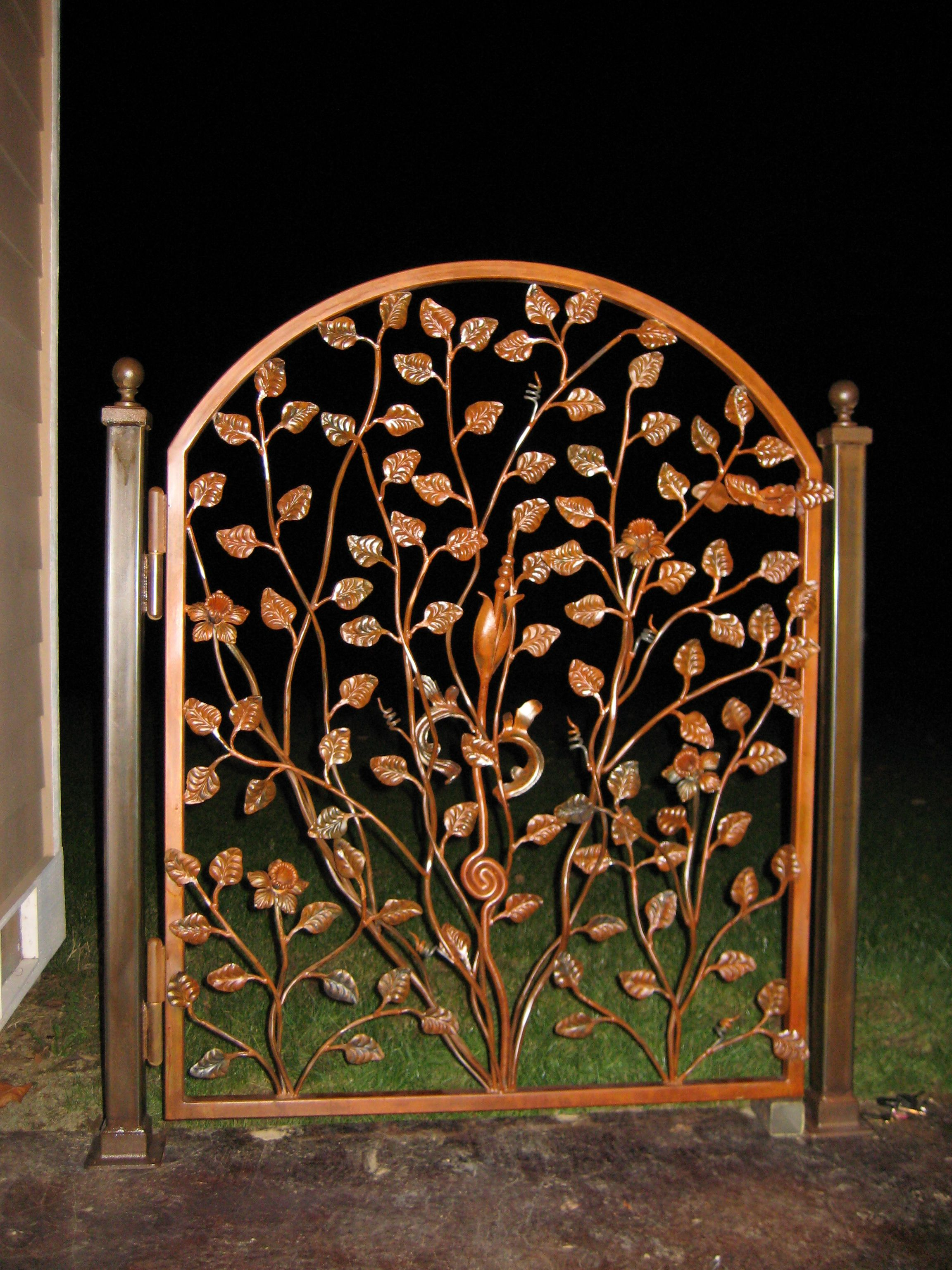 Leaf Gate Organic feeling wrought iron gate with