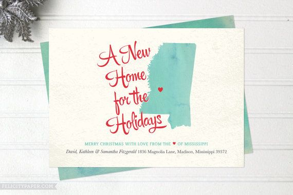 Moving Announcement Christmas Cards Heartland Watercolor State Map