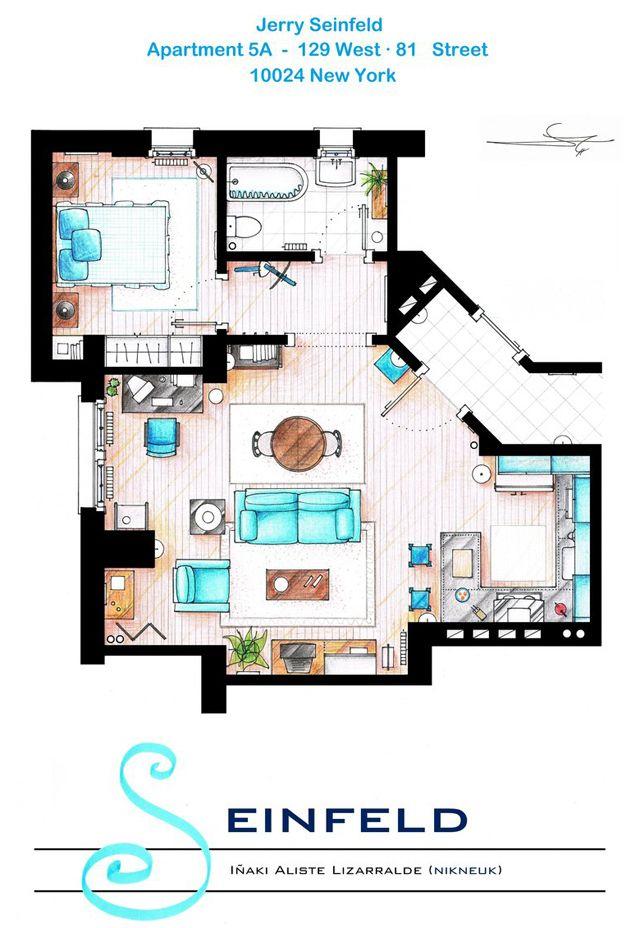 Hand Drawn Floor Plans Of Popular Tv Show Apartments And Houses Apartment Floor Plans House Floor Plans Floor Plans