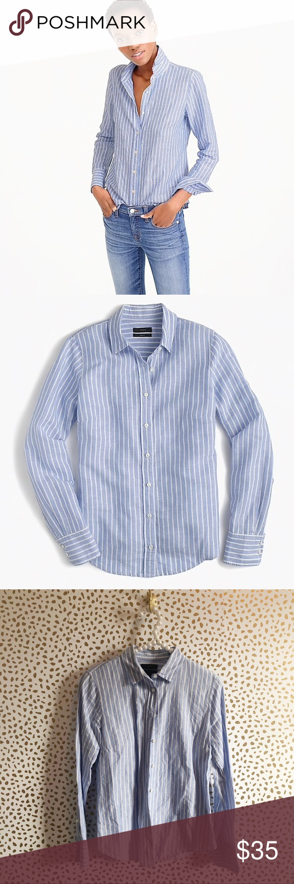f3f3690a0da J. Crew Linen Striped Perfect Shirt Excellent pre owned condition! Size 6P.  Blue