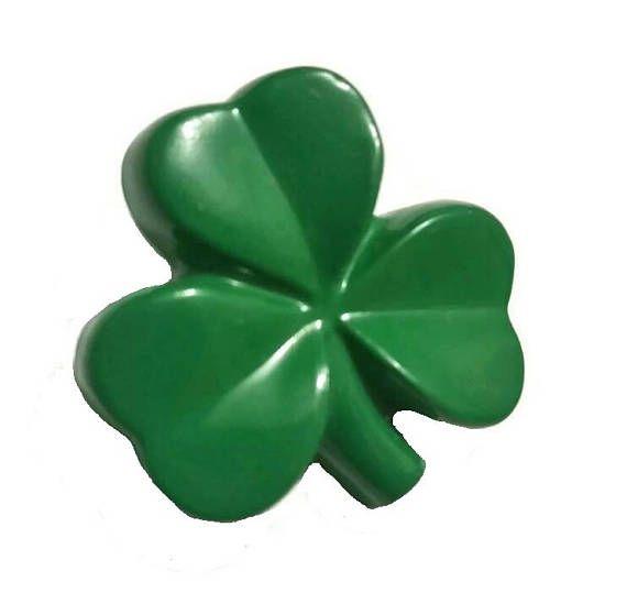 Vintage Shamrock Brooch Green 3 Leaf Clover Pin Plastic 60s St Patricks Day Hallmark Kitsch Jewelry Lucky Broach Irish Good Luck Gift